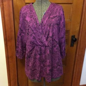 Charter Club Purple 3/4 Sleeve Top Size 2X